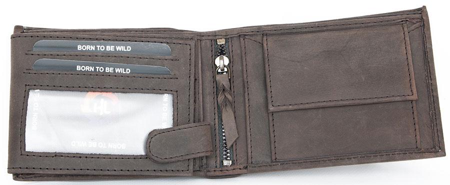 Kožená šedohnědá peněženka Wild force z pevné hovězí kůže s orlem 24bdc61ee4